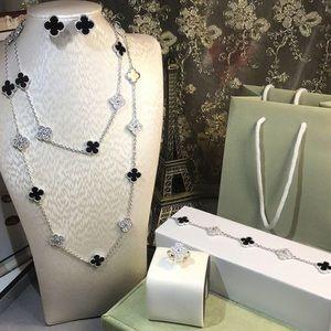 Silver Onyx Clover VCA Necklace Bracelet Ring Set